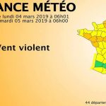 Alerte orange vent violent pour 44 départements