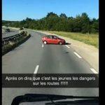 Un routier film une voiture rouler à contresens près de l'A4 😱