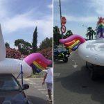 Les gendarmes interceptent une licorne géante sur la route et verbalisent le conducteur